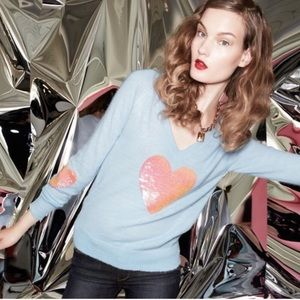Wildfox Crew Neck Sequenced Heart Elbow Patches
